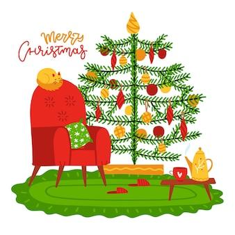 Intérieur mignon avec décorations pour la maison arbre chat fauteuil table basse avec tasse hiver vacances saison i ...