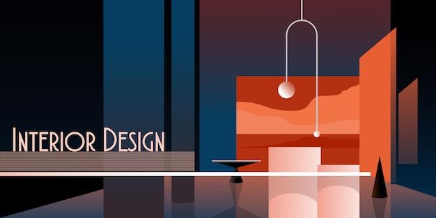 Intérieur moderne abstrait dans des tons pastel de couleur bleue classique.