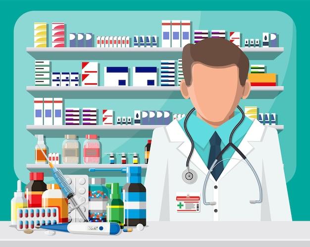 Intérieur moderne de la pharmacie et du pharmacien masculin. capsules de pilules de médecine bouteilles de vitamines et de comprimés. vitrine de pharmacie. étagères avec des médicaments. médicament médical, soins de santé. illustration vectorielle plane