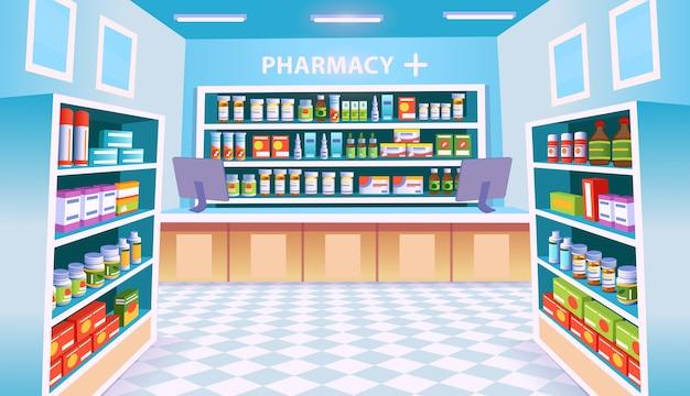 Intérieur de la pharmacie avec des étagères de pilules.