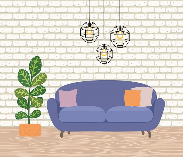 L'intérieur de la pièce avec un canapé jaune, des lampes et une plante d'intérieur.