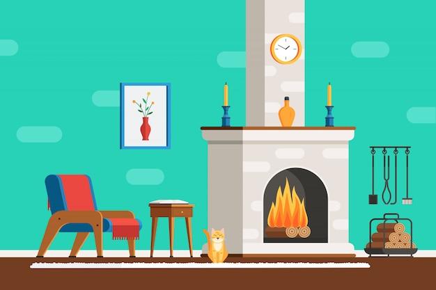 Intérieur de la pièce avec cheminée