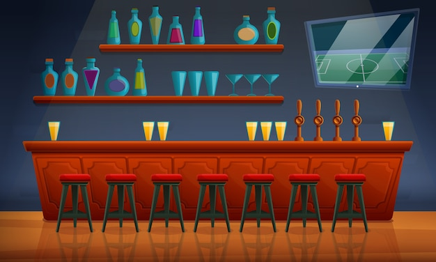 Intérieur d'un pub avec des chaises et un assortiment d'alcool, illustration vectorielle