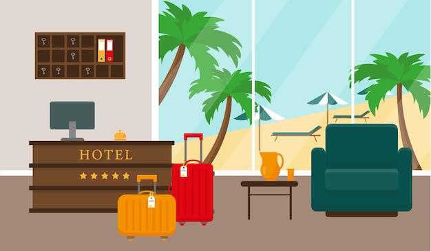 Intérieur de la réception de l'hôtel de plage