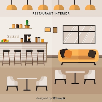 Intérieur de restaurant élégant avec un design plat