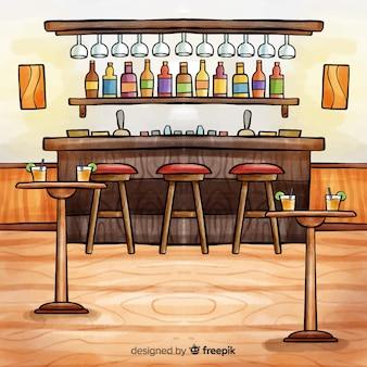 Intérieur de restaurant moderne aquarelle