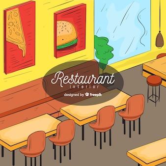 Intérieur de restaurant moderne dessiné à la main