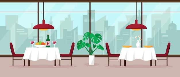 Intérieur de restaurant moderne avec grande fenêtre panoramique et vue sur la ville.