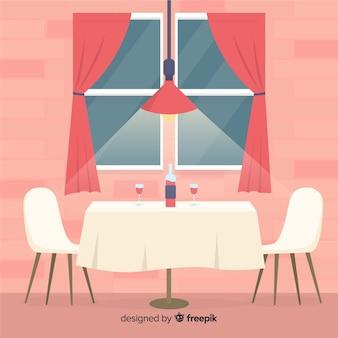 Intérieur de restaurant romantique avec un design plat