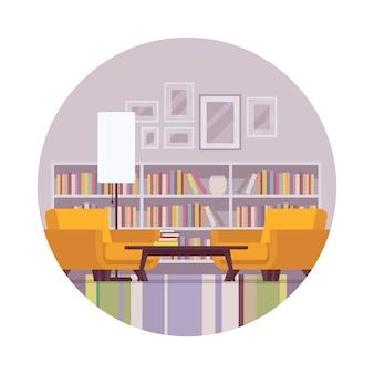 Intérieur rétro avec bibliothèque, lampe, table, fauteuil