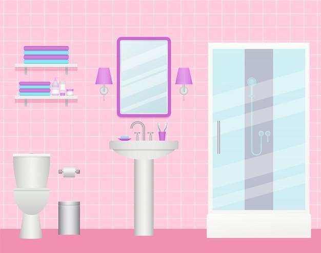 Intérieur salle de bain, chambre avec cabine de douche, lavabo et wc,