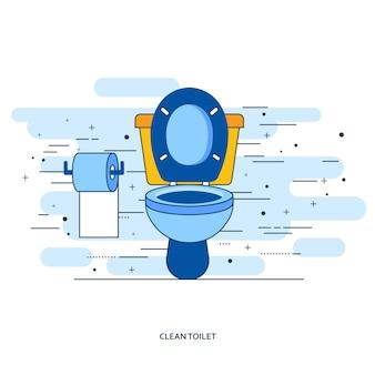 Intérieur de la salle de bain avec cuvette et papier toilette