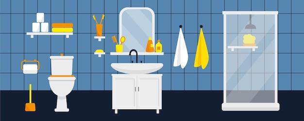 Intérieur de la salle de bain avec douche, meubles et toilettes.