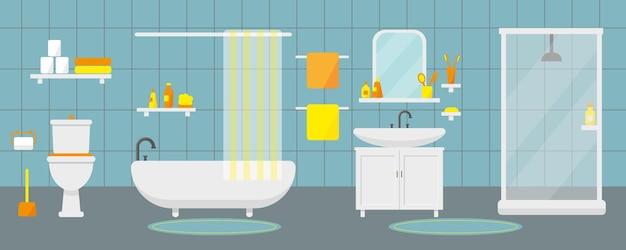 Intérieur de la salle de bain avec meubles et plomberie.