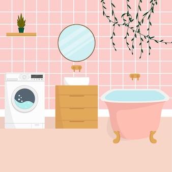 Intérieur de la salle de bain avec mobilier. illustration vectorielle plane