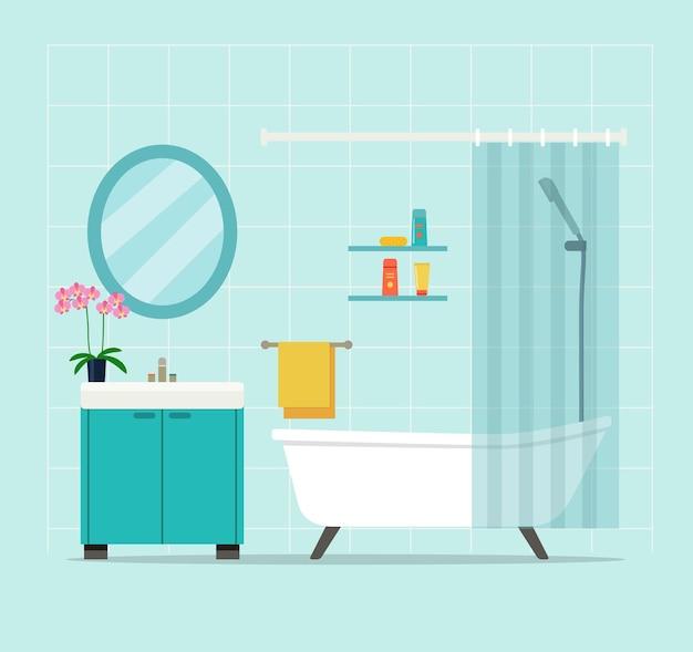 Intérieur de la salle de bain avec orchidée. illustration vectorielle.