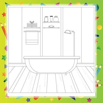 Intérieur de la salle de bain. préparatifs pour le bain. livre de coloriage. illustration vectorielle modifiable