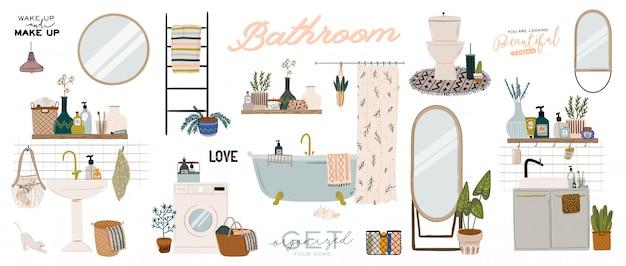 Intérieur de salle de bain scandinave élégant - bidet, robinet, baignoire, toilettes, lavabo, décorations pour la maison. appartement confortable et confortable, meublé dans le style hygge.