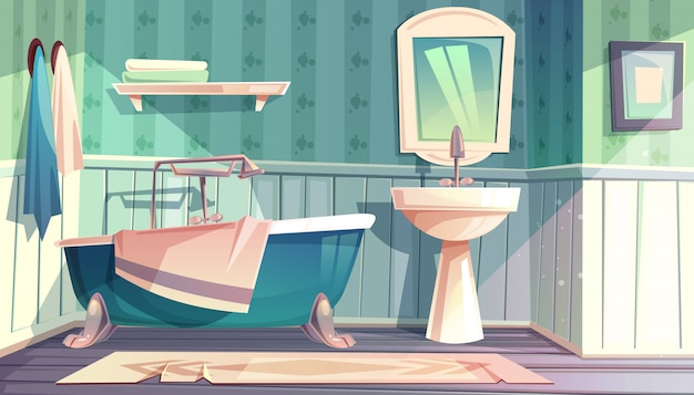 Intérieur de la salle de bains en illustration de style vintage provence français.
