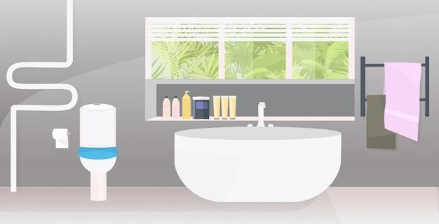 Intérieur de salle de bains moderne vide aucun appartement avec des meubles horizontal