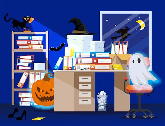 Intérieur de salle de bureau avec citrouille, fantôme rougeoyant et chemises de classement dans des boîtes sur la table.