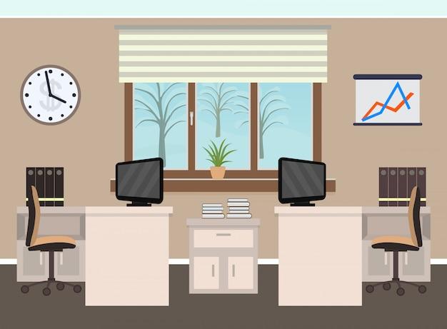 Intérieur de la salle de bureau comprenant deux espaces de travail avec mobilier, paysage d'hiver à l'extérieur de la fenêtre.