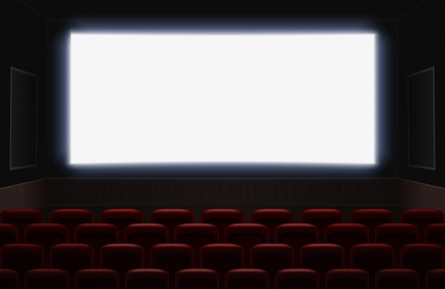 Intérieur d'une salle de cinéma avec écran blanc blanc brillant. places de cinéma ou de théâtre rouges devant l'écran. illustration de fond d'auditorium cinéma vide