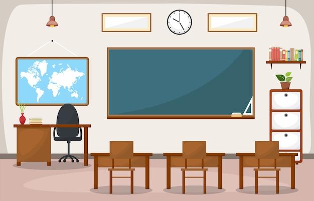 Intérieur de salle de classe d'école blackboard furniture flat
