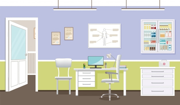 Intérieur de la salle de consultation du médecin dans la clinique.