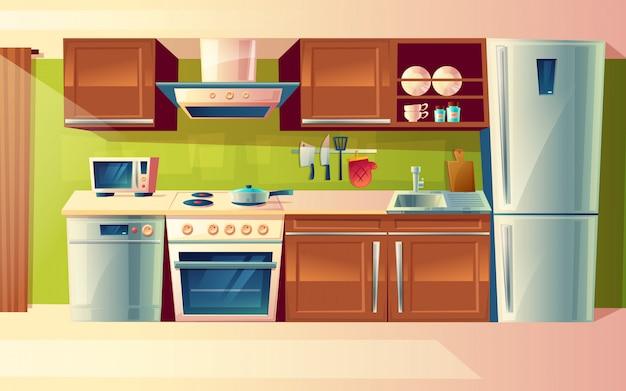Intérieur de salle de cuisine de dessin animé, comptoir de cuisine avec des appareils