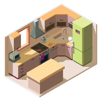 Intérieur de salle de cuisine moderne avec des meubles et des appareils électroménagers de style isométrique