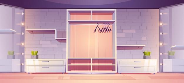 Intérieur de salle de garde-robe moderne de placard vide de plain-pied