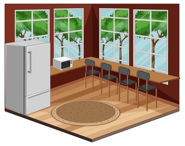 Intérieur de la salle à manger avec des meubles de style moderne