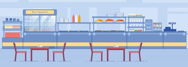 Intérieur de la salle à manger vide de la cantine avec comptoir