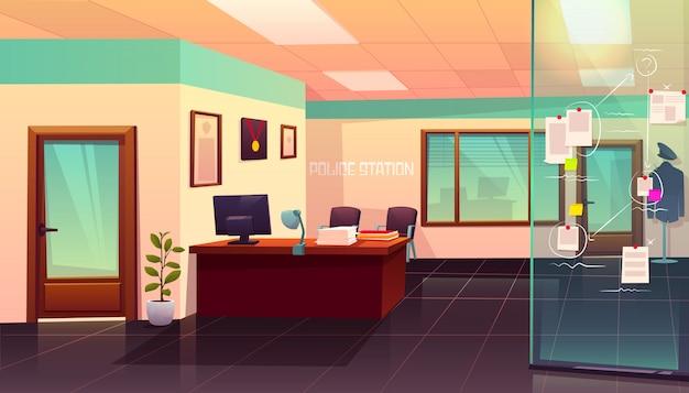Intérieur de la salle de police avec illustration du tableau des preuves