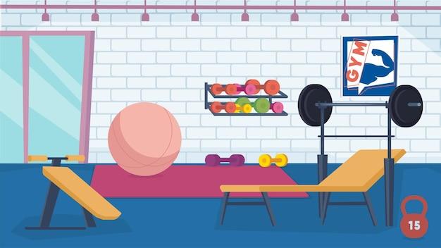 Intérieur de la salle de sport avec concept d'équipement dans la salle de formation à la conception de dessins animés plats avec des haltères d'haltères benc...