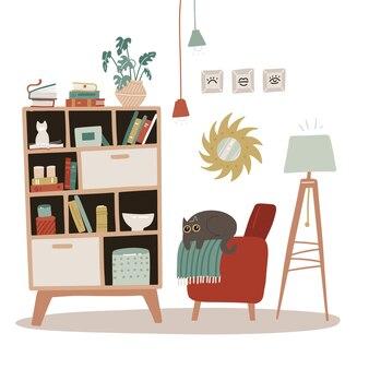 Intérieur d'un salon avec bibliothèque. style cosy scandinave. illustration dessinée à la main plate