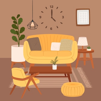 Intérieur de salon confortable assis sur un fauteuil et pouf avec des plantes d'intérieur poussant dans des pots