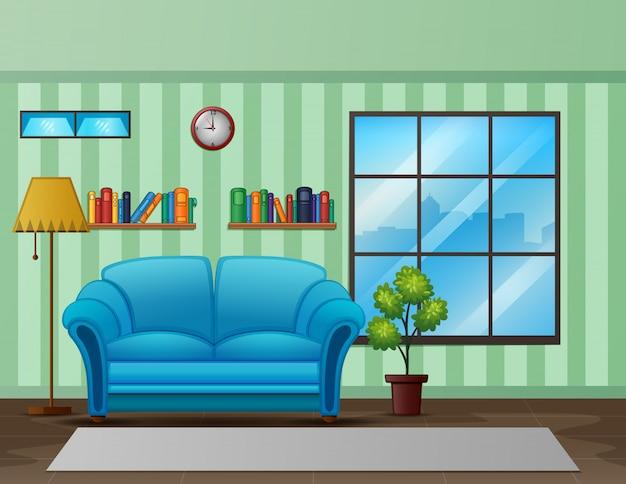 Intérieur de salon confortable avec un canapé et une bibliothèque