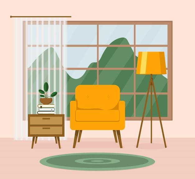Intérieur de salon confortable confortable et lumineux