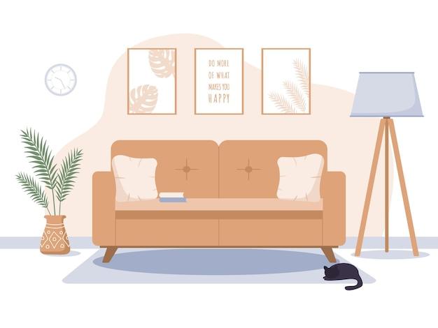 Intérieur de salon confortable dans un style scandinave.