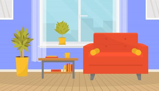 Intérieur de salon confortable avec des meubles. fauteuil élégant, table basse, plantes d'intérieur, tableaux muraux. grande fenêtre et parquet. design de maison. appartement moderne. illustration dans un style plat.