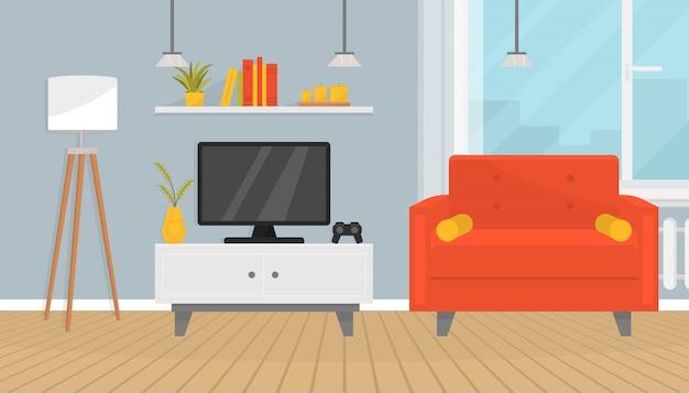 Intérieur de salon confortable avec des meubles et une télévision. fauteuil élégant, lampadaire, plantes d'intérieur, étagère avec livres, bougies. grande fenêtre. design de maison. appartement moderne. plat .
