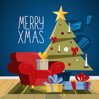 Intérieur de salon confortable de noël avec arbre et coffrets cadeaux. jolie décoration et cheminée. carte de voeux pour la décoration. beau . illustration