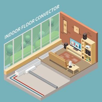 Intérieur de salon confortable avec système de chauffage au sol installé à l'intérieur contre illustration isométrique 3d