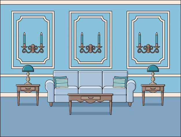 Intérieur de salon en dessin au trait,