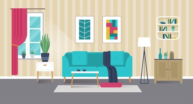 Intérieur de salon élégant avec canapé et meubles