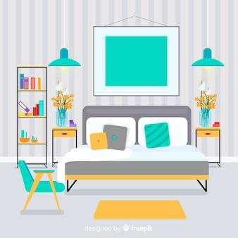 Intérieur de salon élégant avec un design plat