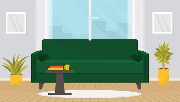 Intérieur de salon élégant avec des meubles. canapé confortable, table basse, photos murales, plantes d'intérieur. design de maison. appartement moderne avec parquet et grande fenêtre.