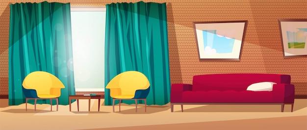 Intérieur de salon avec fauteuils, canapé, table, photo au mur, une fenêtre et un rideau. mur avec étagères.